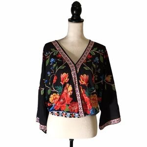 FLYING TOMATO Faux Wrap Wide Sleeve Floral Blouse